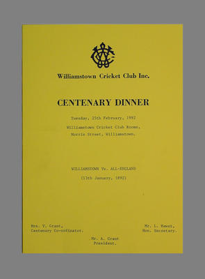 Programme, Williamstown Cricket Club Centenary Dinner, 25 February 1992