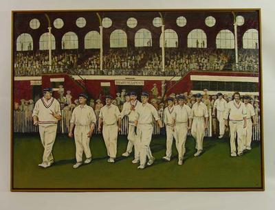 """Painting, """"Melbourne Cricket Club Team of the Century"""" by Martin Tighe, 2004"""