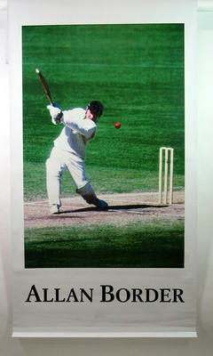 Vinyl banner, image of Allan Border; Flags and signage; 2005.4184