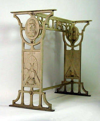 Cast iron  table base, cricket design with images of W.G. Grace