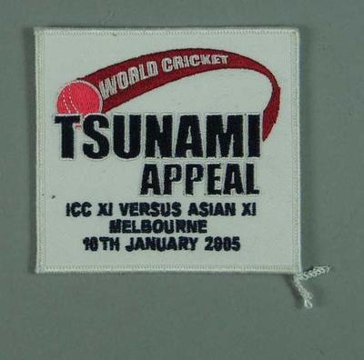 Cloth badge, Tsunami Appeal Match - MCG, 10 Jan 2005; Clothing or accessories; M13071