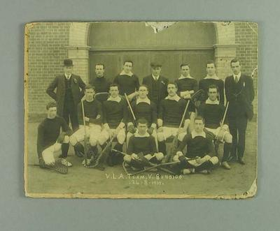 Photograph of Victorian lacrosse team, 24 Aug 1910