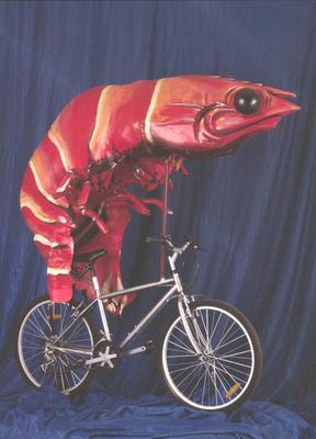Prawn on a bike, costume worn during Sydney 2000 Olympic Games Closing Ceremony
