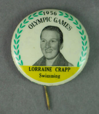 Badge with image of Lorraine Crapp, 1956 Olympic Games