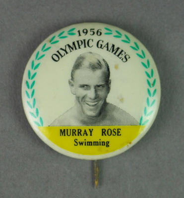 Badge with image of Murray Rose, 1956 Olympic Games
