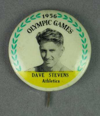 Badge with image of Dave Stephens, 1956 Olympic Games