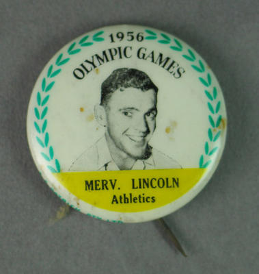 Badge with image of Merv Lincoln, 1956 Olympic Games