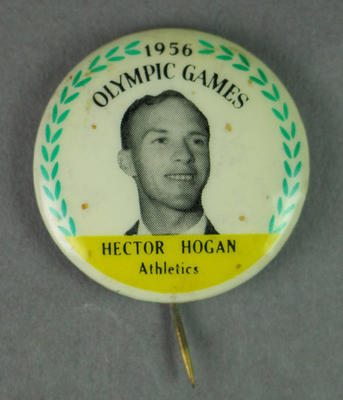 Badge with image of Hector Hogan, 1956 Olympic Games; Clothing or accessories; 1995.3136.9.6