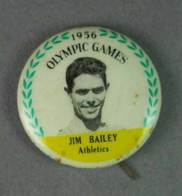 Badge with image of Jim Bailey, 1956 Olympic Games