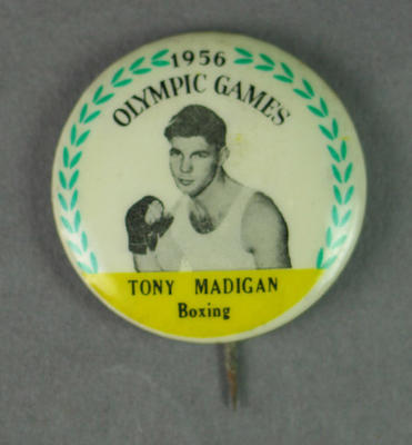 Badge with image of Tony Madigan, 1956 Olympic Games