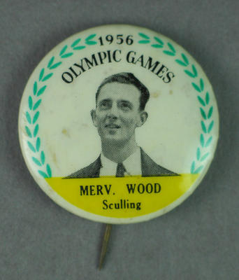 Badge with image of Merv Wood, 1956 Olympic Games