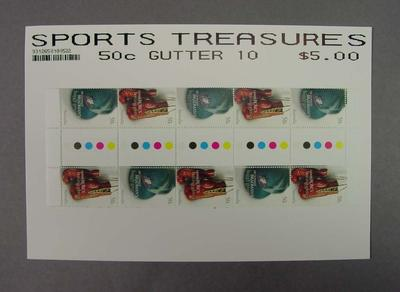 """Block of stamps, """"Sports Treasures"""" stamp issue - 2005"""