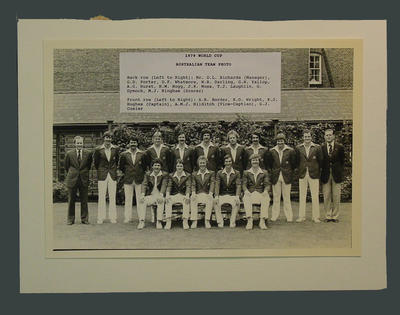 Photograph of Australian cricket team, 1979 World Cup; Photography; M4172