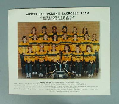 Photograph of Australian Women's Lacrosse team, 1986; Photography; 1988.1929