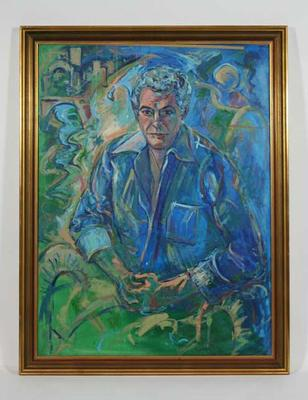 Framed oil portrait of Brian Dixon by Roberto Coppa