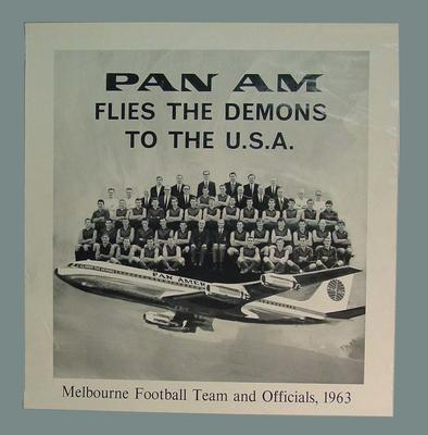 Poster, Melbourne FC flying to USA with PAN-AM - 1963; Documents and books; M4190.1