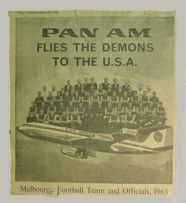 Newspaper clipping, Melbourne FC flying to USA with PAN-AM - 1963; Documents and books; M4190.2