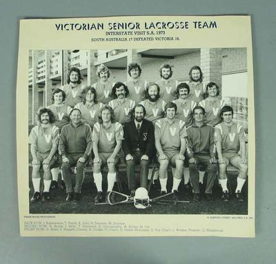 Photograph of Victorian Senior Lacrosse team, 1973