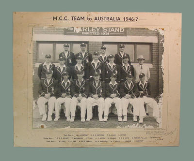 Photograph of English cricket team, Australia 1946-47