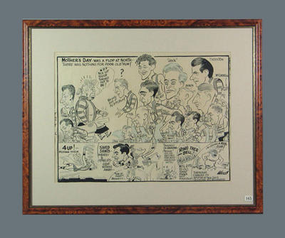Cartoon of North Melbourne FC players c1950, by Wells; Artwork; Framed; 1987.1825.4