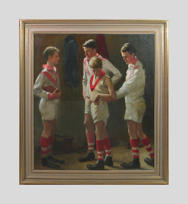 Oil painting, depicts four young footballers