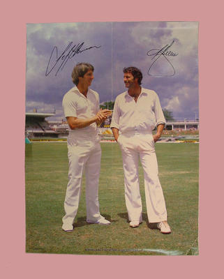 Signed Poster -  Dennis Lillee and Jeffrey Thomson - Queensland Cricketer's Club
