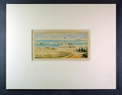 Watercolour, depicts football match at Williamstown Cricket Ground c1870s