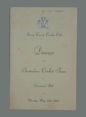 Menu, Surrey County Cricket Club dinner to the Australian cricket team - 1964