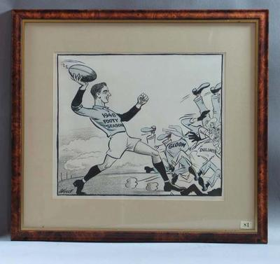 Cartoon celebrating the start of the 1948 VFL season, by Wells; Artwork; 1987.1825.31