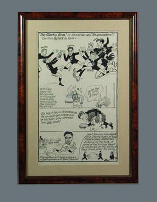 Cartoon depicting Carlton FC players 1948, by Wells; Artwork; Framed; 1987.1825.32