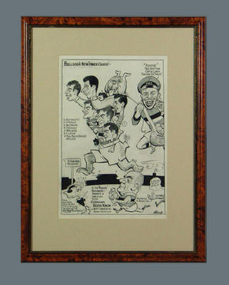 Cartoon depicting Footscray FC players c1950s, by Wells; Artwork; Framed; 1987.1825.34