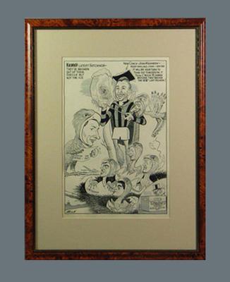 Cartoon depicting Hawthorn FC players c1950s, by Wells; Artwork; Framed; 1987.1825.35