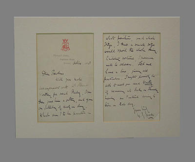 Letter from W G Grace, regarding painting of portrait - 14 Oct 1888; Documents and books; M4427