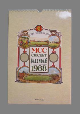 Calendar, Marylebone Cricket Club - 1988