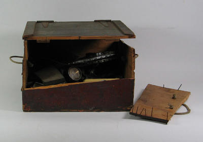 Wooden box containing bicycle parts and repair tools - associated with R.L. Bates