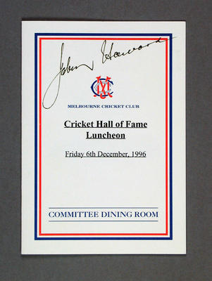 Menu signed by Prime Minister John Howard, Cricket Hall of Fame dinner - 1996