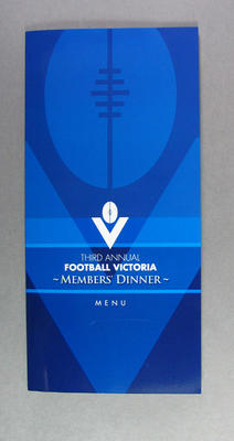 Menu, Football Victoria Member's Dinner - 2005; Documents and books; M13425