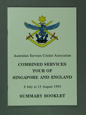 Summary Booklet ASCA Combined Services Tour Singapore & England 1993; Documents and books; M13465.1