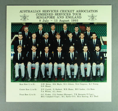 Australian Services Cricket Association combined Services tour 1993 team photo