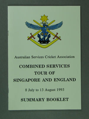 Summary Booklet ASCA Combined Services Tour Singapore & England 1993; Documents and books; M13465.2