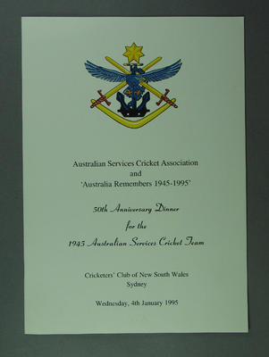 ASCA 50th Anniversary Dinner for 1945 Australian Services XI on 4/1/1995; Documents and books; Documents and books; M13469.1