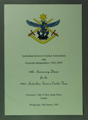 ASCA 50th Anniversary Dinner for 1945 Australian Services XI on 4/1/1995; Documents and books; Documents and books; M13469.2