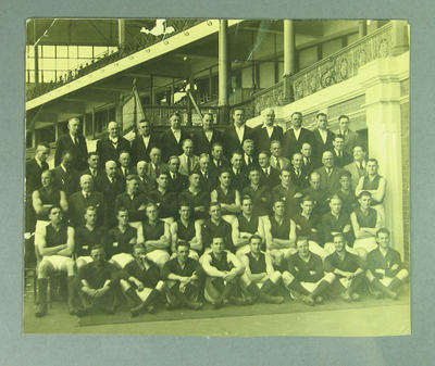 Photograph, Melbourne Football Club team with officials c 1940