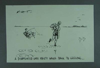 """Cartoon, """"A Disappointed Gary Ablett Walks Back to Geelong"""" by Mark Knight"""