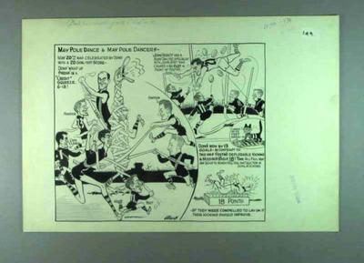 Cartoon by Wells featuring various footballers, c1950s; Artwork; 1990.2377