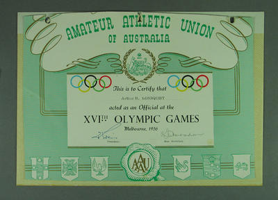 Amateur Athletic Union of Australia Certificate awarded to Arthur H. Lonnquist; Documents and books; M13534