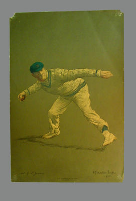 Print of cricketer Gilbert Laird Jessop from a lithograph by A. Chevallier Tayler 1905