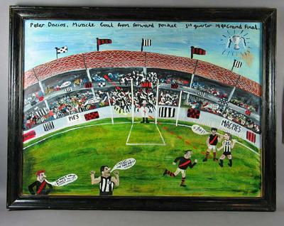 "Painting, ""P. Daicos Miricale Goal"" by Timothy James Webb c1990"