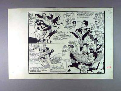 """Cartoon, """"Crow Eaters at the MCG Sat"""" by Wells c1962"""