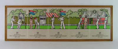 "Print of stamp issue, ""Australia Test Cricket Centenary 1877-1977"""